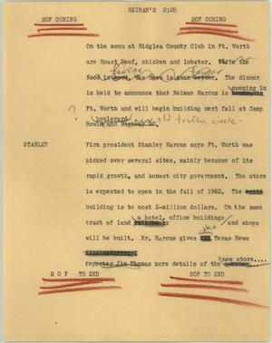Primary view of object titled '[News Script: Neiman's]'.