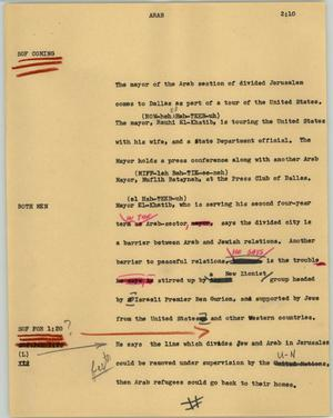 Primary view of object titled '[News Script: Arab]'.