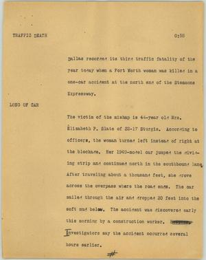 Primary view of object titled '[News Script: Traffic death]'.