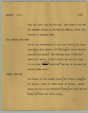 Primary view of object titled '[News Script: Hounds]'.