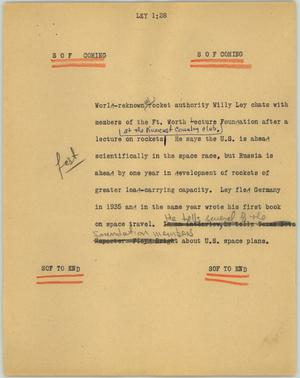 Primary view of object titled '[News Script: Ley]'.