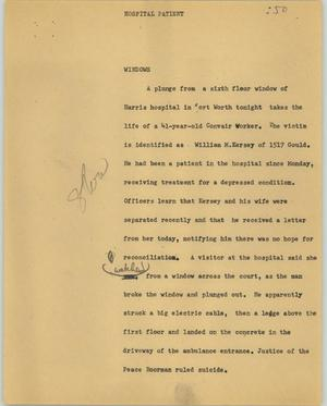 Primary view of object titled '[News Script: Hospital patient/extradite]'.