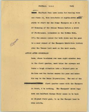 Primary view of object titled '[News Script: Football]'.
