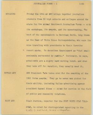Primary view of object titled '[News Script: Journalism forum]'.