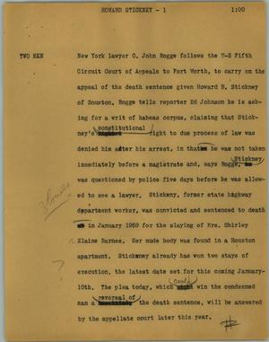 Primary view of object titled '[News Script: Howard Stickney]'.