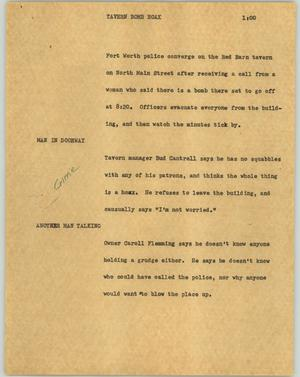Primary view of object titled '[News Script: Tavern bomb hoax]'.