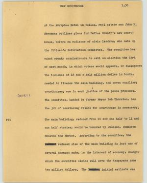 Primary view of object titled '[News Script: New courthouse]'.