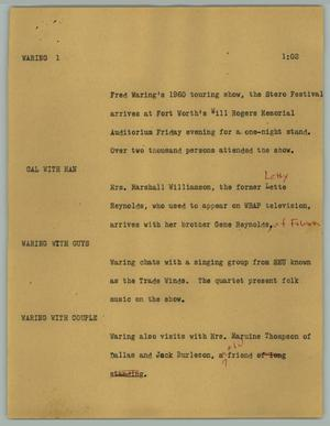 Primary view of object titled '[News Script: Waring]'.