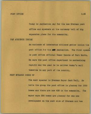 Primary view of object titled '[News Script: Post Office]'.