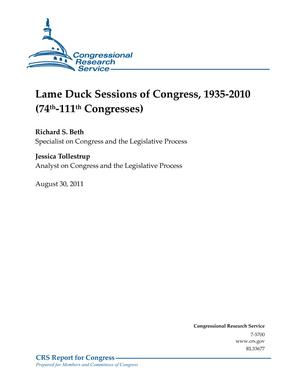 Lame Duck Sessions of Congress, 1935-2010 (74th-111th Congresses)