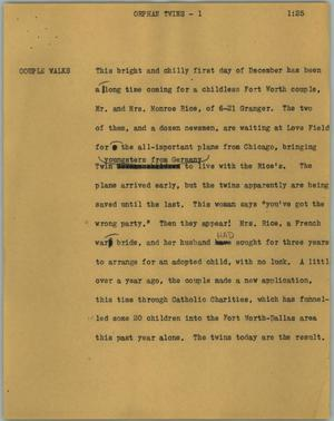 Primary view of object titled '[News Script: Orphan twins]'.