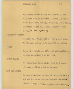 Primary view of object titled '[News Script: Six Flags opens]'.