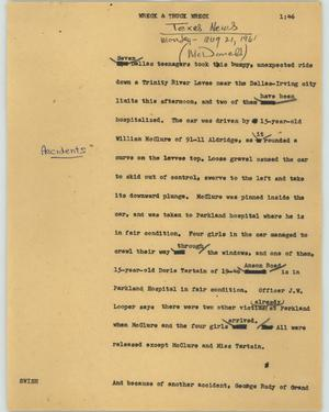 Primary view of object titled '[News Script: Wreck and truck wreck]'.