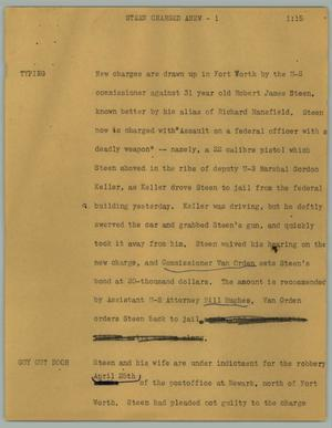 Primary view of object titled '[News Script: Steen charged anew]'.