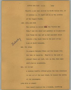 Primary view of object titled '[News Script: Little red taxi]'.