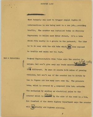 Primary view of object titled '[News Script: Counter]'.