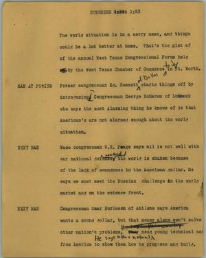 Primary view of object titled '[News Script: Congress]'.