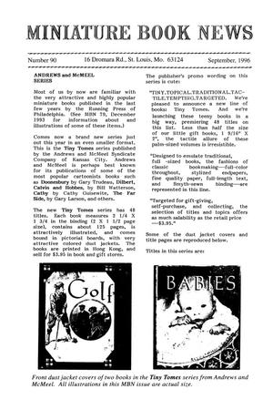 Primary view of object titled 'Miniature Book News # 90: 1996 September'.