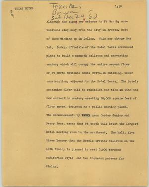 Primary view of object titled '[News Script: Texas Hotel]'.