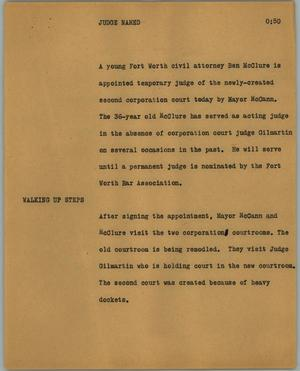 Primary view of object titled '[News Script: Judge named]'.