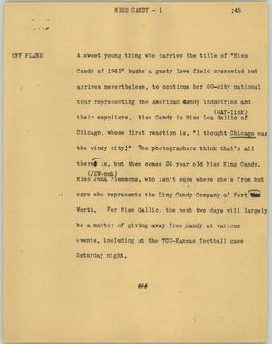 Primary view of object titled '[News Script: Miss Candy]'.