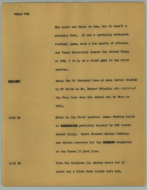 Primary view of object titled '[News Script: Texas TCU]'.