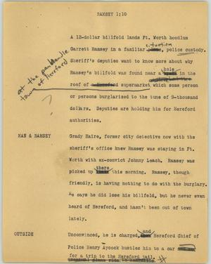 Primary view of object titled '[News Script: Ramsey]'.