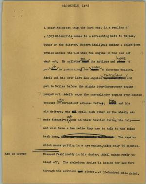 Primary view of object titled '[News Script: Oldsmobile]'.