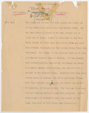 Primary view of object titled '[News Script: Gatesville escapers]'.