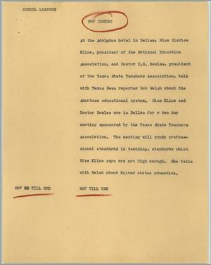 Primary view of object titled '[News Script: School leaders]'.