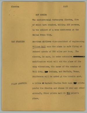 Primary view of object titled '[News Script: Electra]'.
