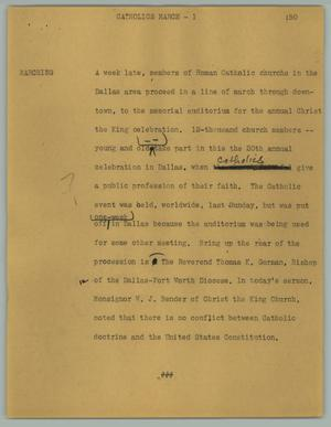 Primary view of object titled '[News Script: Catholics march]'.
