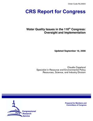 Water Quality Issues in the 110th Congress: Oversight and Implementation