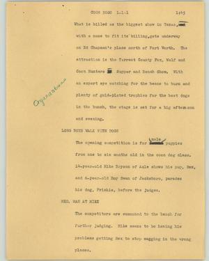 Primary view of object titled '[News Script: Coon dogs]'.
