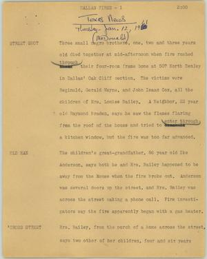 Primary view of object titled '[News Script: Dallas fires]'.