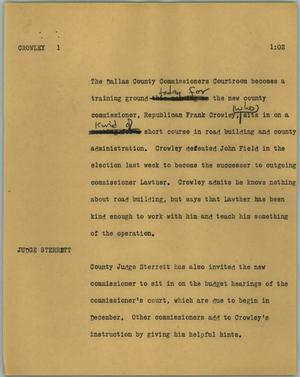 Primary view of object titled '[News Script: Crowley]'.