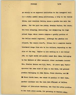Primary view of object titled '[News Script: Poodles]'.