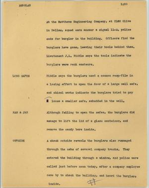 Primary view of object titled '[News Script: Burglar]'.