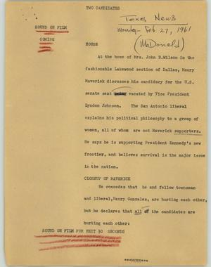 Primary view of object titled '[News Script: Two candidates]'.