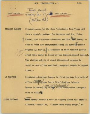 Primary view of object titled '[News Script: Gov. inauguration]'.