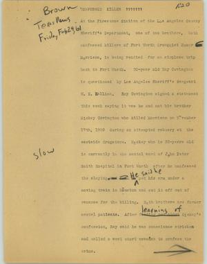 Primary view of object titled '[News Script: Confessed killer]'.
