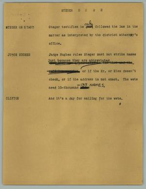 Primary view of object titled '[News Script: Steger]'.
