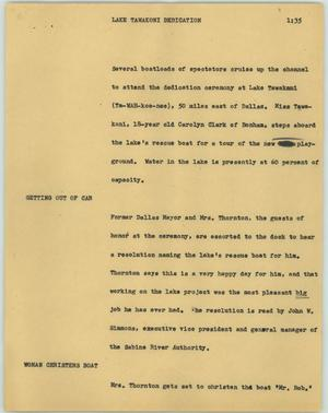 Primary view of object titled '[News Script: Lake Tawakoni dedication]'.