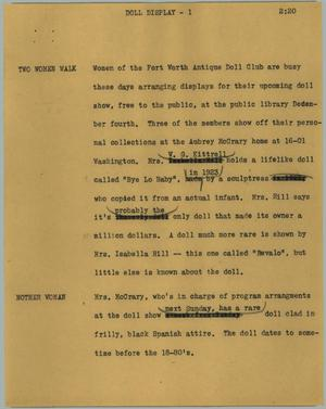 Primary view of object titled '[News Script: Doll display]'.