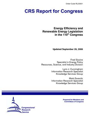 Energy Efficiency and Renewable Energy Legislation in the 110th Congress