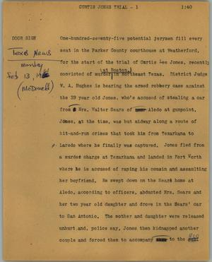 Primary view of object titled '[News Script: Curtis Jones trial]'.