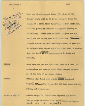 Primary view of object titled '[News Script: Jail trouble]'.