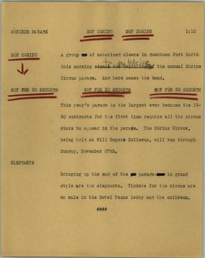 Primary view of object titled '[News Script: Shriner parade]'.