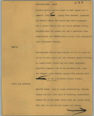 Primary view of object titled '[News Script: Commissioners court]'.