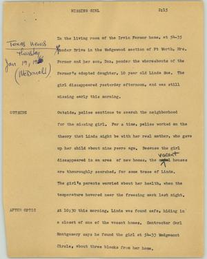 Primary view of object titled '[News Script: Missing girl]'.